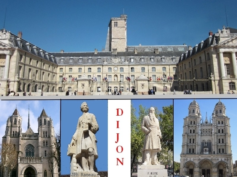Dijon City Hall, Bottom: Saint Benigne Cathedral, Statue of Jean-Philippe Rameau, Statue of Francois Rude, Saint Michel Church