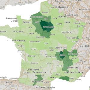 Carte des offres de salaires en France par département 1